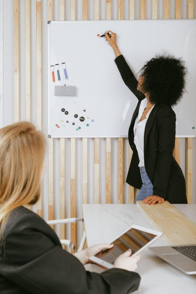women at whiteboard coaching room